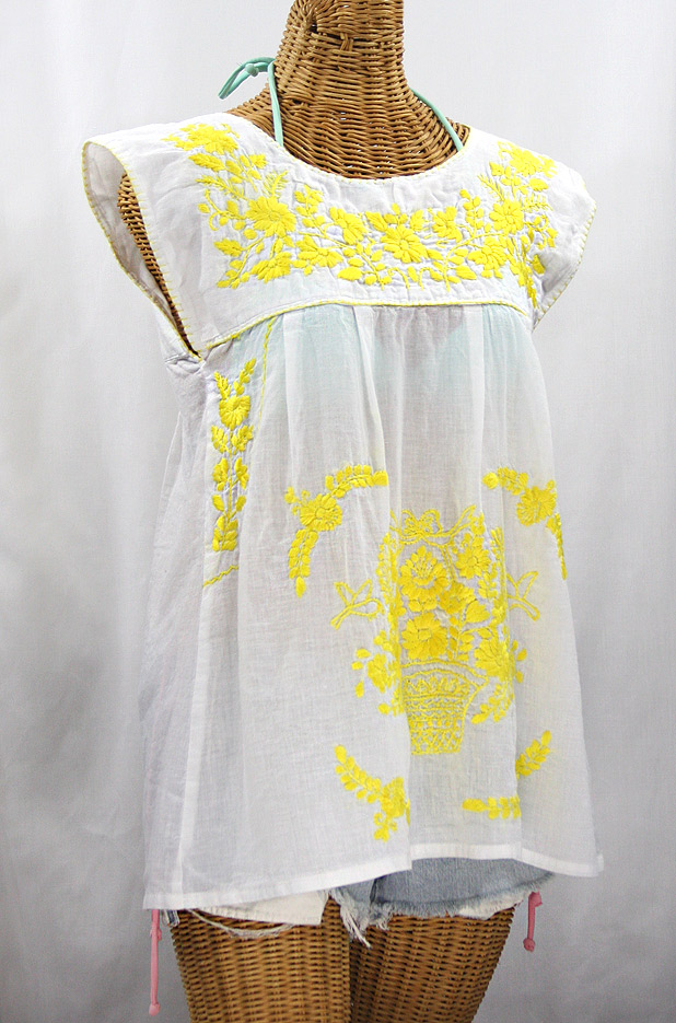 """La Boqueria"" Cap Sleeve Mexican Blouse -White + Neon Yellow"