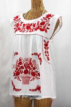 """""""La Boqueria"""" Cap Sleeve Mexican Blouse -White + Red"""