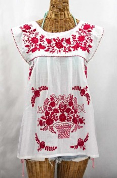 """La Boqueria"" Cap Sleeve Mexican Blouse -White + Red"