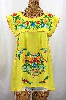 """La Boqueria"" Cap Sleeve Mexican Blouse -Yellow + Fiesta"