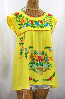 "Final Sale 40% Off -- ""La Boqueria"" Cap Sleeve Mexican Blouse -Yellow + Fiesta"