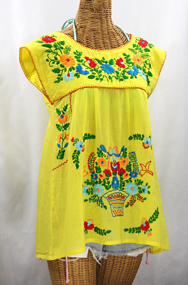 """La Boqueria"" Cap Sleeve Mexican Blouse -Yellow + Fiesta"