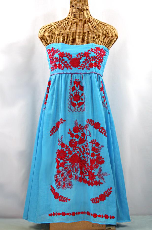 """La Canaria"" Embroidered Strapless Sundress - Aqua + Red"