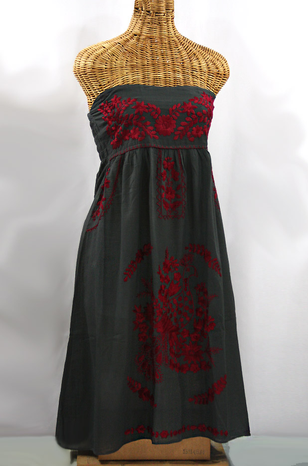 """""""La Canaria"""" Embroidered Strapless Sundress - Charcoal + Maroon"""