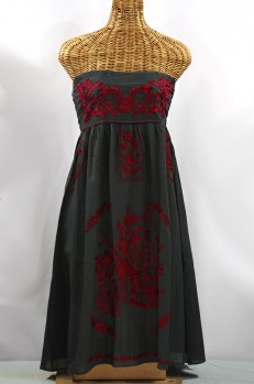 "60% Off Final Sale ""La Canaria"" Embroidered Strapless Sundress - Charcoal + Maroon"
