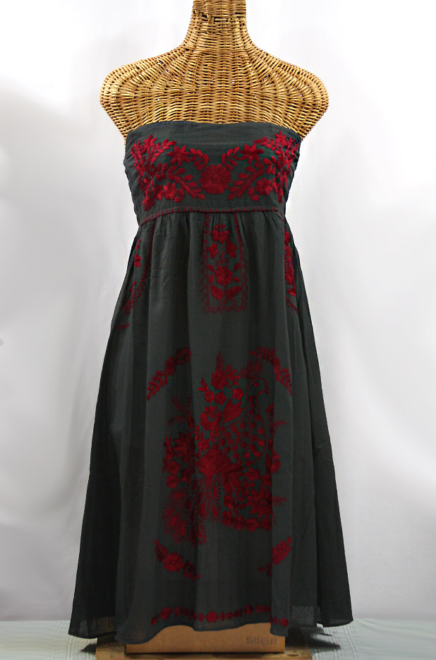 """La Canaria"" Embroidered Strapless Sundress - Charcoal + Maroon"