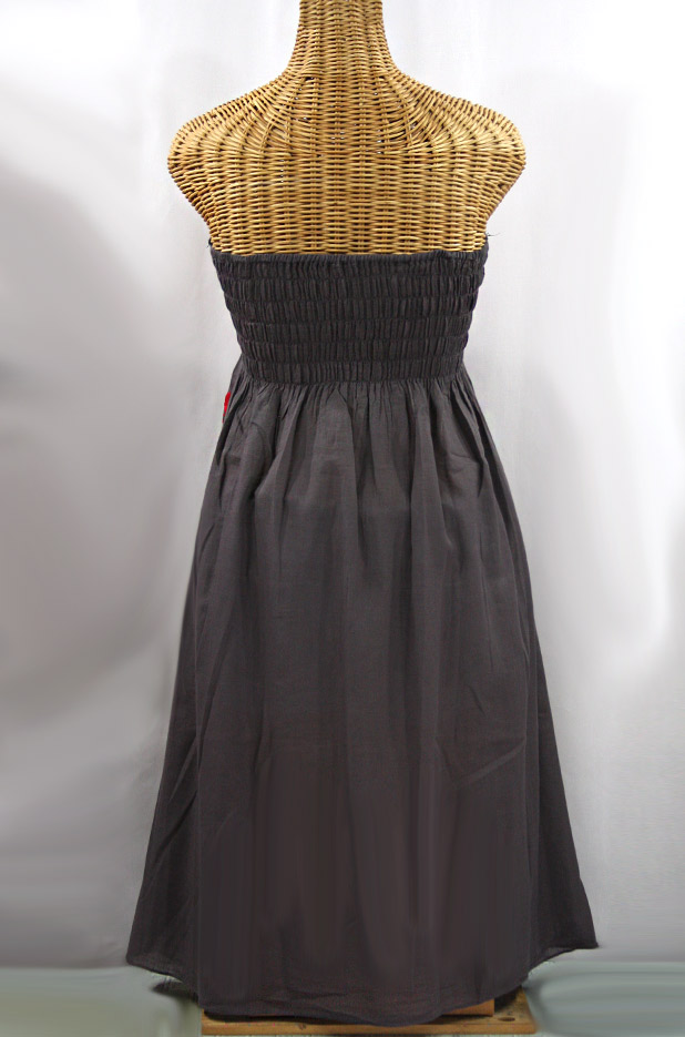 """Final Sale 60% Off -- """"La Canaria"""" Embroidered Strapless Sundress - Dark Grey + Red"""