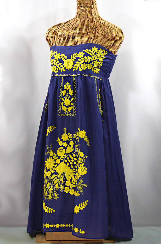 """La Canaria"" Embroidered Strapless Sundress - Denim + Yellow"