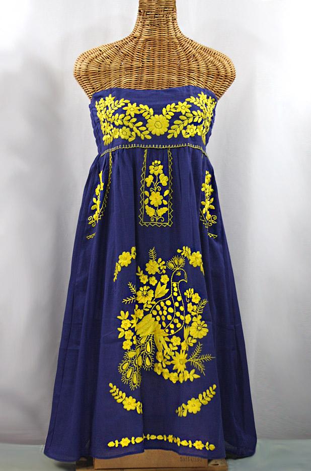 """La Canaria"" Embroidered Strapless Sundress - Denim + Yellow"