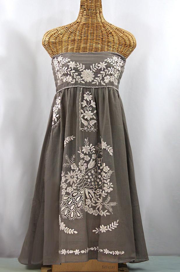 """La Canaria"" Embroidered Strapless Sundress - Fog Grey + Cream"