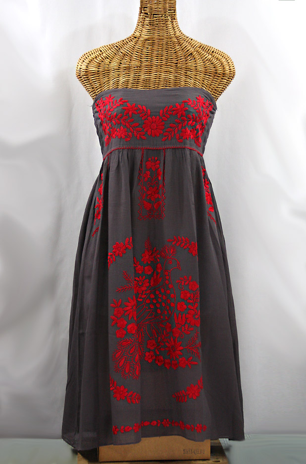 "Final Sale 60% Off -- ""La Canaria"" Embroidered Strapless Sundress - Dark Grey + Red"