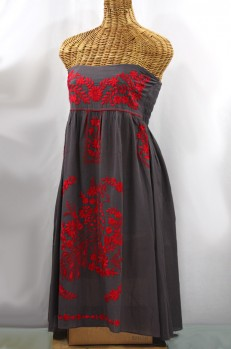 """60% Off Final Sale """"La Canaria"""" Embroidered Strapless Sundress - Dark Grey + Red"""