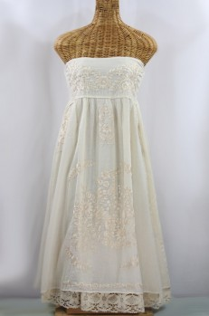 """50% Off Final Sale """"La Canaria"""" Embroidered Strapless Sundress with Lining - All Off White"""