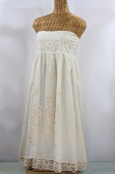 "50% Off Final Sale ""La Canaria"" Embroidered Strapless Sundress with Lining - All Off White"