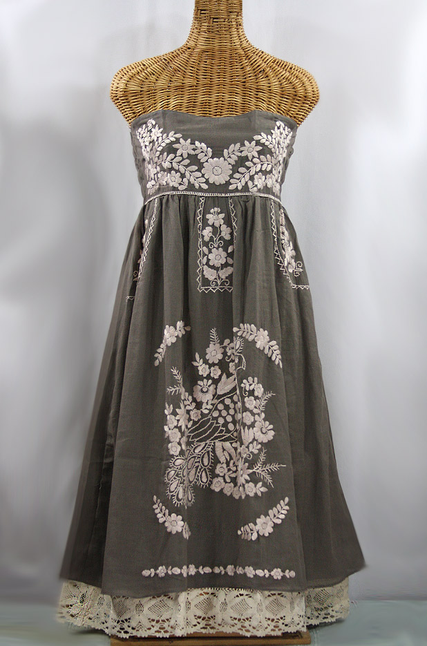 """""""La Canaria"""" Embroidered Strapless Sundress with Lining - Fog Grey + Cream"""