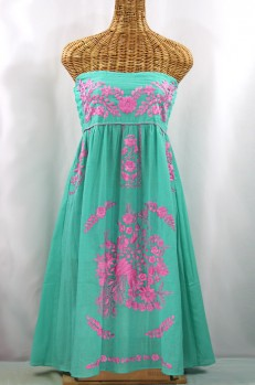 """""""La Canaria"""" Embroidered Strapless Sundress - Mint + Pink"""