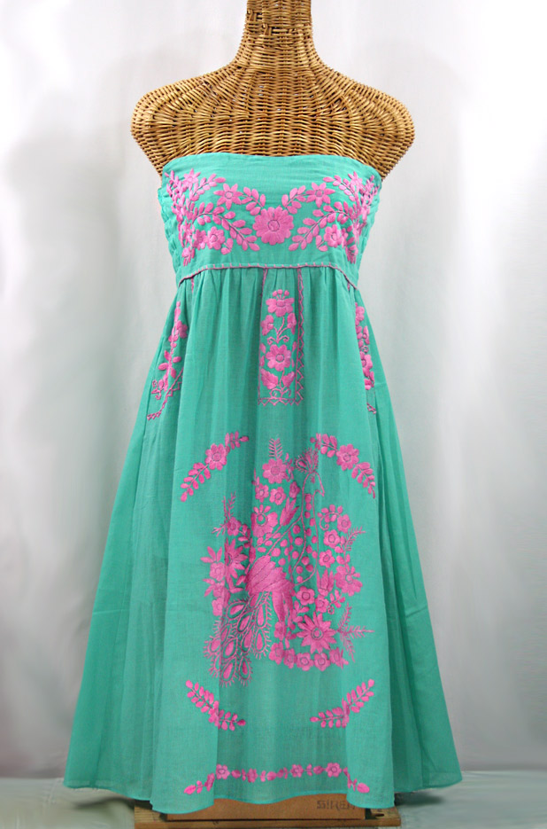 """La Canaria"" Embroidered Strapless Sundress - Mint + Pink"
