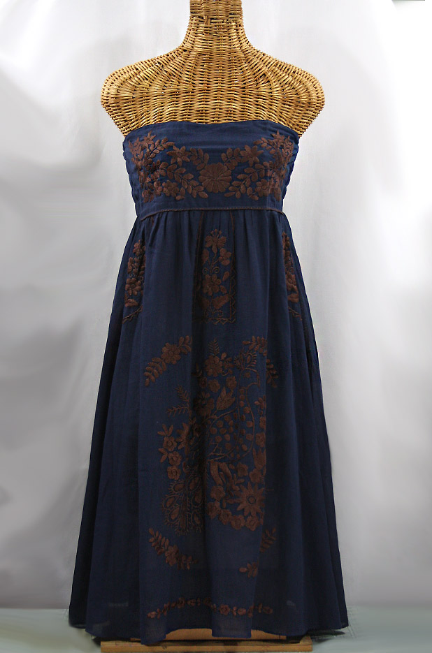 """""""La Canaria"""" Embroidered Strapless Sundress - Navy + Brown"""
