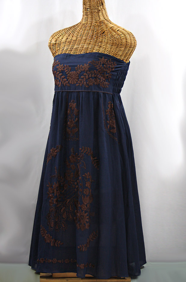 "60% Off Final Sale ""La Canaria"" Embroidered Strapless Sundress - Navy + Brown"