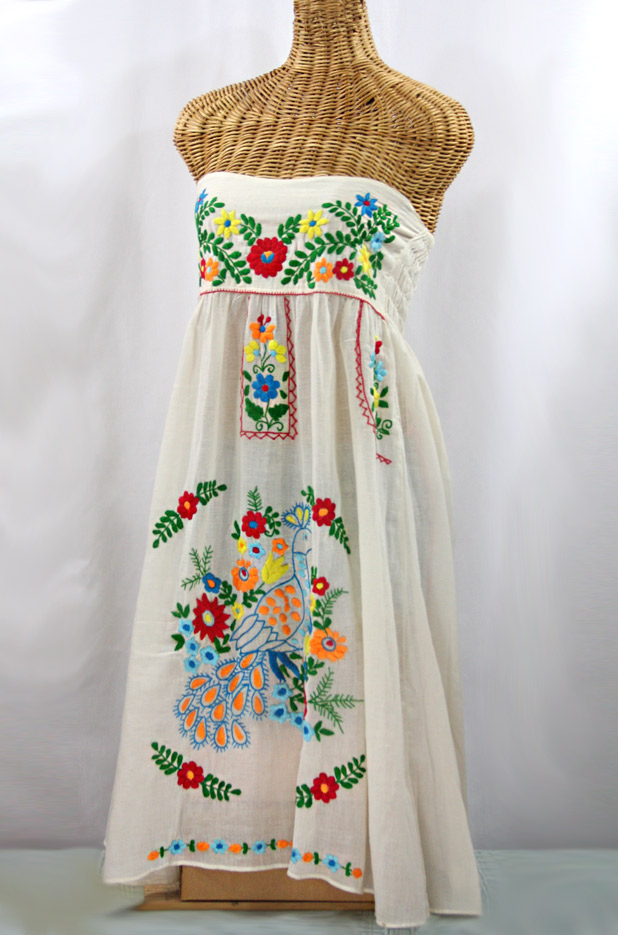 """La Canaria"" Embroidered Strapless Sundress - Off White + Multi"