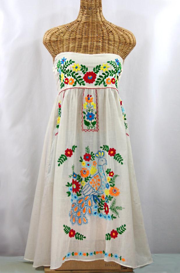 """""""La Canaria"""" Embroidered Strapless Sundress - Off White + Multi"""