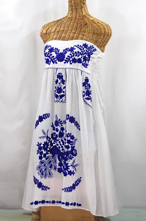 """La Canaria"" Embroidered Strapless Sundress - White + Blue"