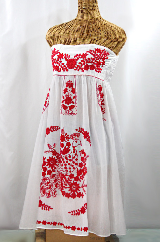 """""""La Canaria"""" Embroidered Strapless Sundress - White + Red"""