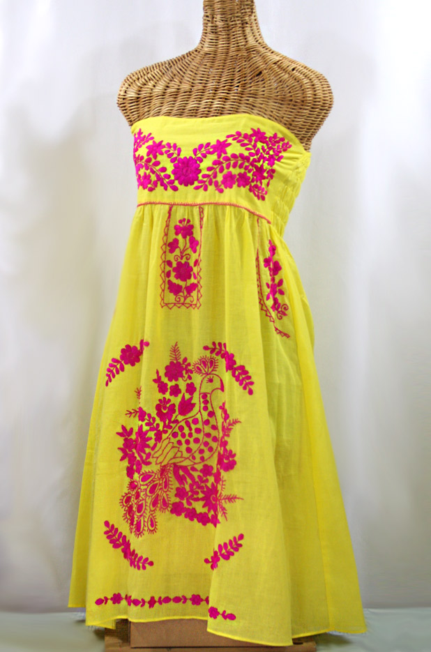 """La Canaria"" Embroidered Strapless Sundress - Yellow + Magenta"