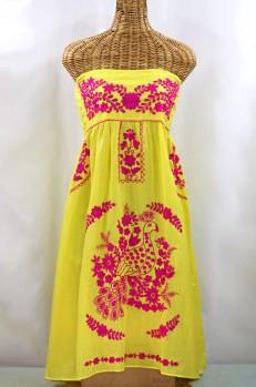 """""""La Canaria"""" Embroidered Strapless Sundress - Yellow + Magenta"""