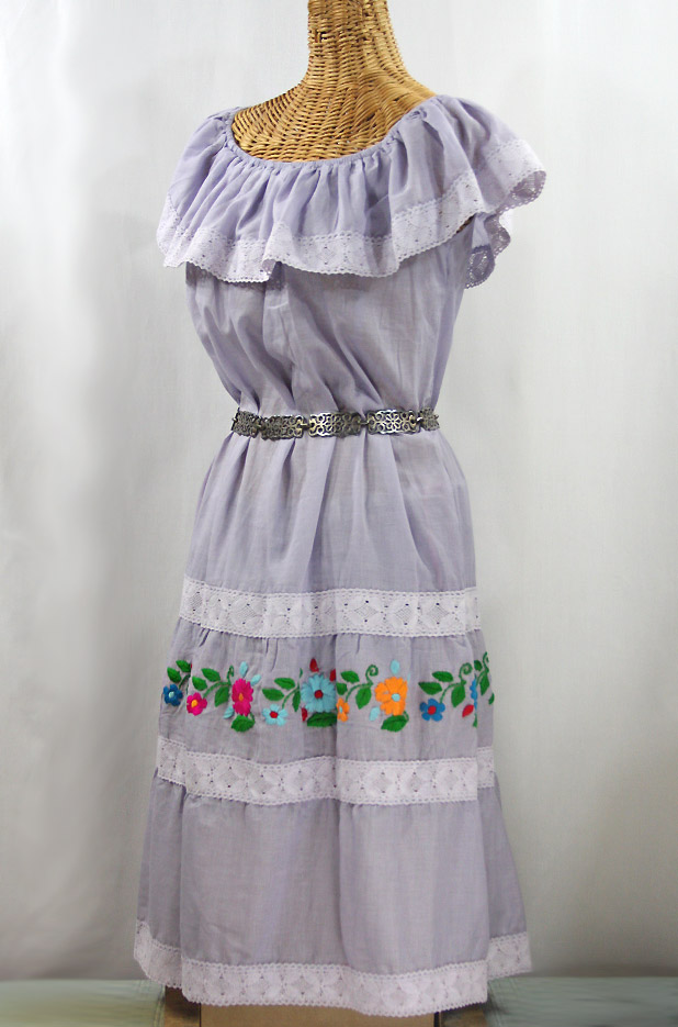"""La Cantina"" Embroidered Ruffled Dress - Iced Lavender + Multi"