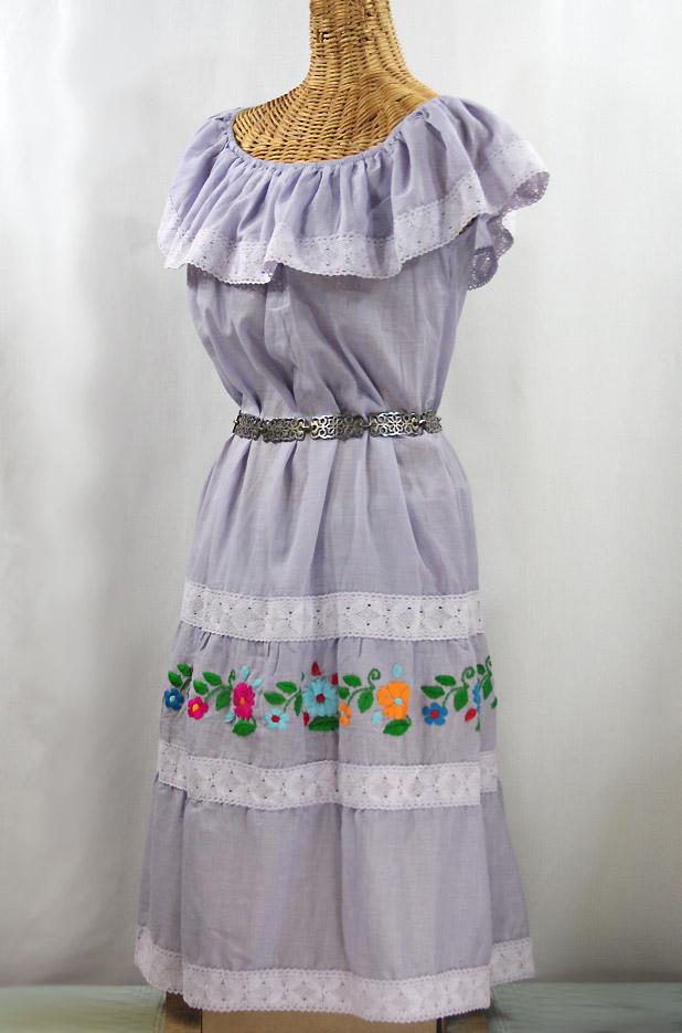 """La Cantina"" Embroidered Ruffled Dress - Iced Lavender + Multi"