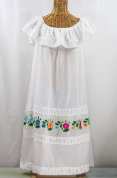 """La Cantina"" Embroidered Ruffled Dress - White + Multi"