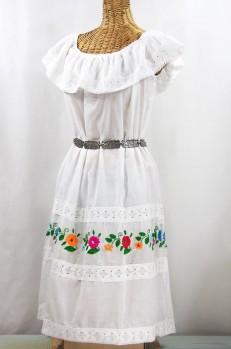"""La Cantina"" Embroidered Ruffled Dress - White + Multi"
