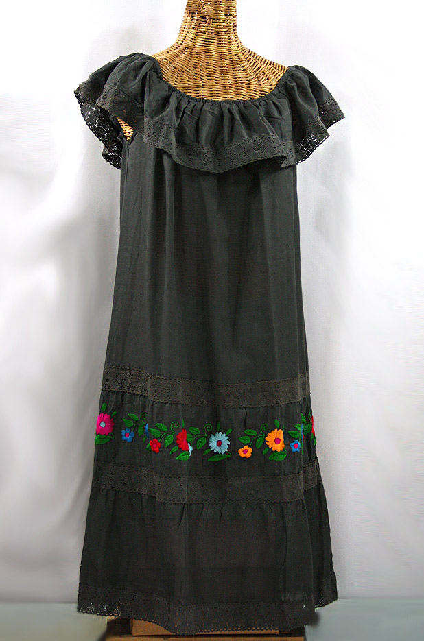 """La Cantina"" Embroidered Ruffled Dress - Charcoal + Multi"