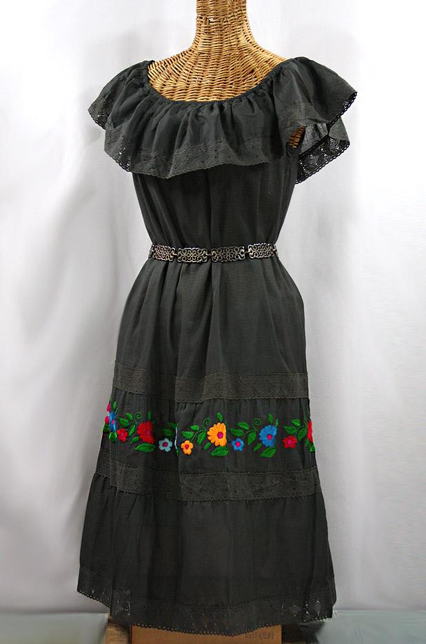 """La Cantina"" Embroidered Ruffled Dress - Charcoal + Multi"