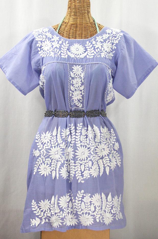"""La Favorita"" Embroidered Mexican Dress - Periwinkle + White"