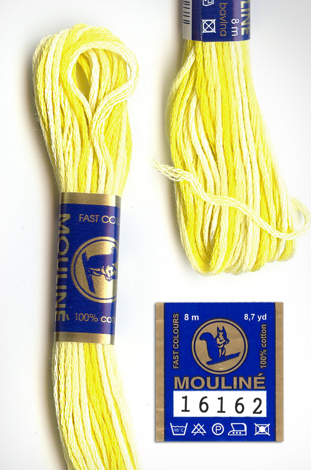 Mouline Embroidery Floss 100% Cotton - Yellow Variegated 16162