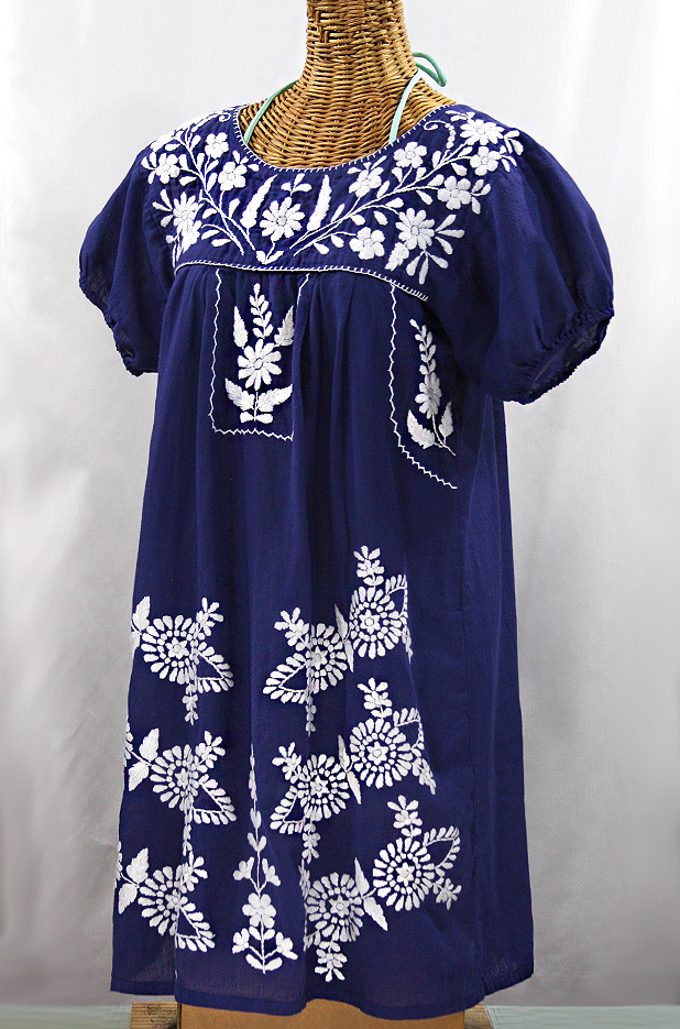 "60% Off Final Sale ""La Azulita"" Embroidered Mexican Dress - Denim + White"