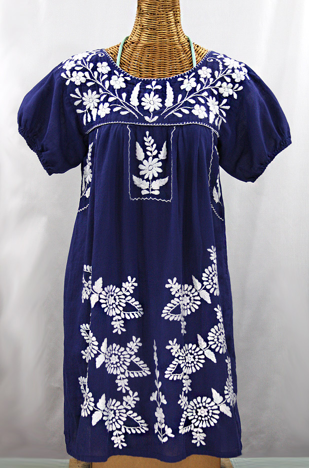 "Final Sale 60% Off -- ""La Azulita"" Embroidered Mexican Dress - Denim + White"