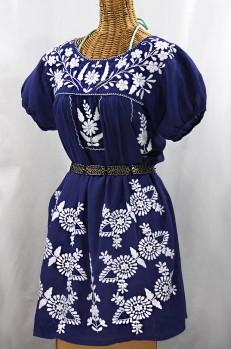 "Final Sale 60% Off -- ""La Azulita"" Embroidered Mexican Dress - Denim + White"