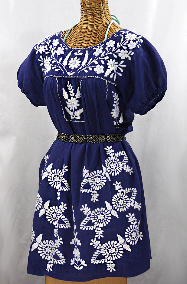 "60% Off Final Sale ""La Azulita"" Embroidered Mexican Dress - Denim + White"
