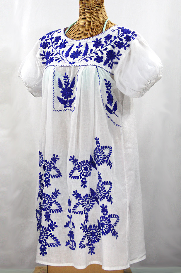 "Final Sale 60% Off -- ""La Azulita"" Embroidered Mexican Dress - White + Blue"