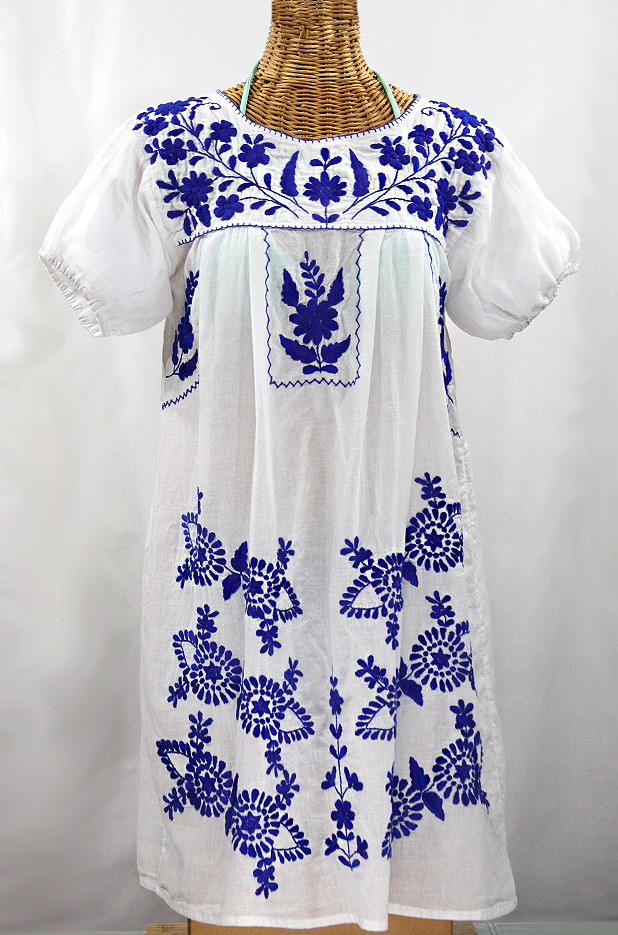 """La Azulita"" Embroidered Mexican Dress - White + Blue"