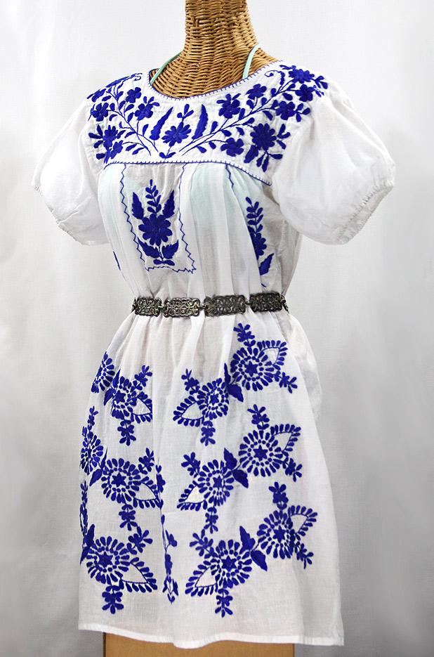 """""""La Azulita"""" Embroidered Mexican Dress - White + Blue"""