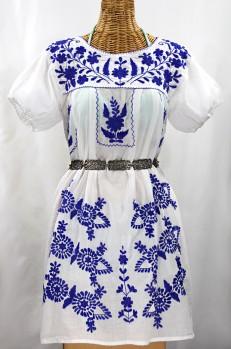 "Final Sale 60% Off -- ""La Azulita"" Embroidered Mexican Dress - White + Blue"