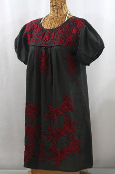 """""""La Azulita"""" Embroidered Mexican Dress - Charcoal + Dark Red"""