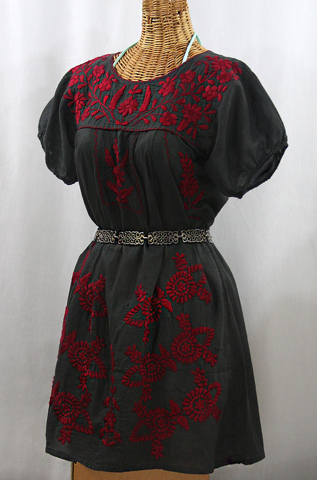 """La Azulita"" Embroidered Mexican Dress - Charcoal + Dark Red"