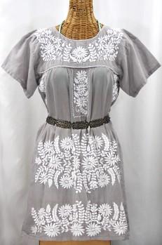 """La Favorita"" Embroidered Mexican Dress - Grey + White"