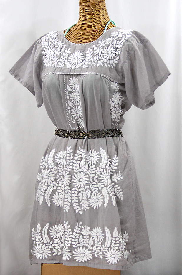 """La Favorita"" Embroidered Mexican Dress - Grey + White"
