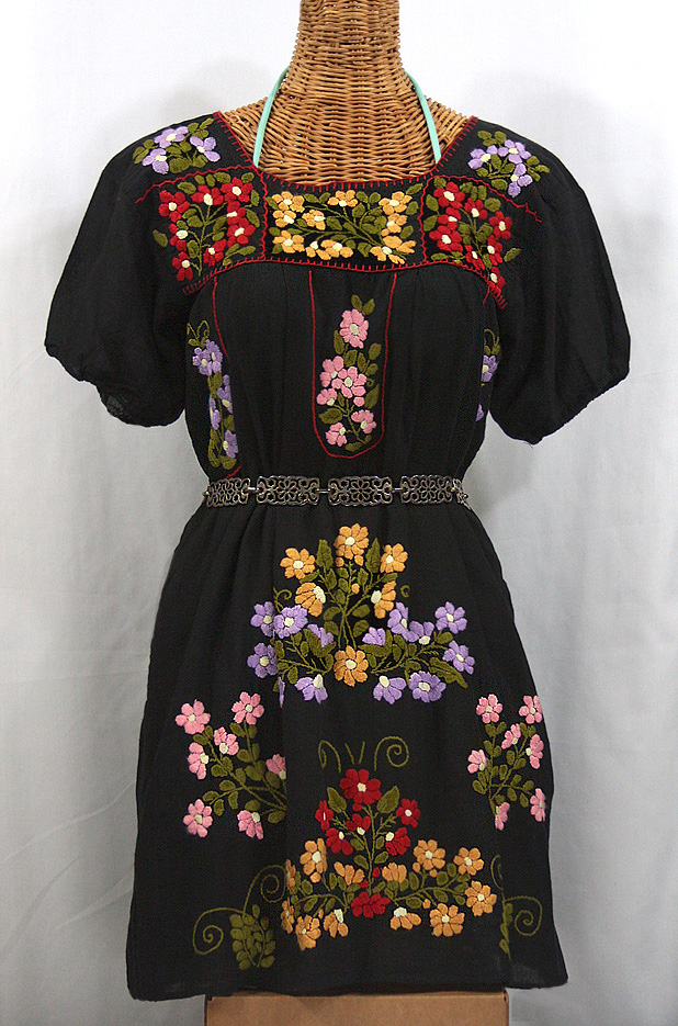 """La Florita"" Embroidered Mexican Dress - Black"